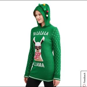 NO BOUNDARIES Llama Christmas Sweater Hoodie XXL